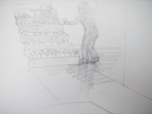 やさしい家の階段をひな壇にしてMorigamiを植えていくイメージ。