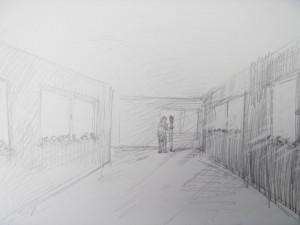 十日町病院の廊下にMorigamiの並木道を作るイメージ