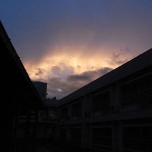 足助病院の夕焼け。